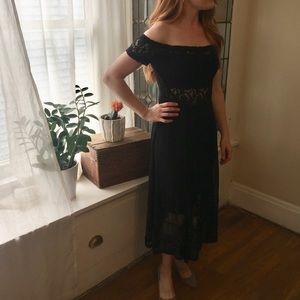 Free People sheer/lace off-the-shoulder dress